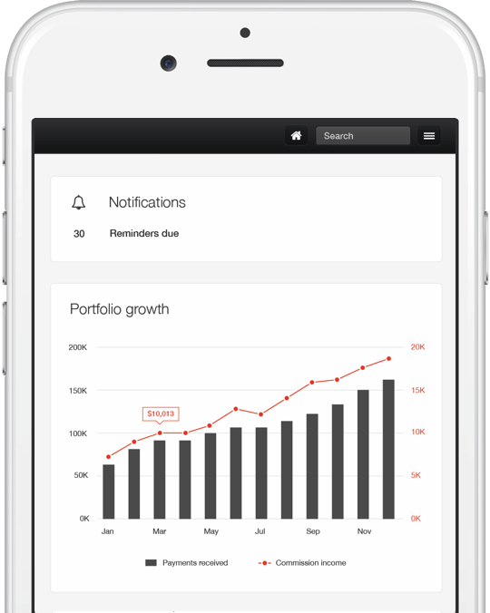 PayProp dashboard on mobile